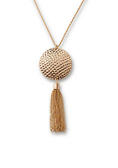 Kim Rogers Gold-Tone Hammered Tassel Pendant Necklace