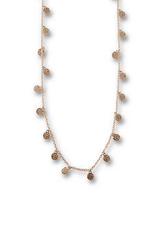 Kim Rogers Gold-Tone Hammered Disc Long Necklace