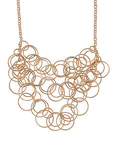 Kim Rogers Gold-Tone Textured Ring Collar Necklace