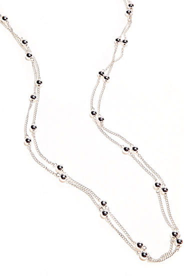 Kim Rogers® Silver Plated 72 Inch Ball Station Chain Necklace