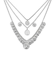 Kim Rogers® Silver-Tone Triple Row Coin Necklace