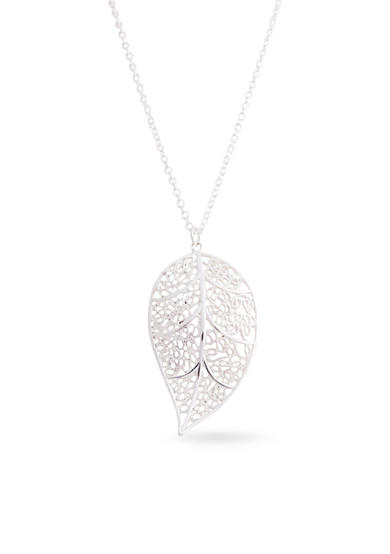 Kim Rogers® Silver-Tone Cut Out Filigree Leaf Pendant Necklace