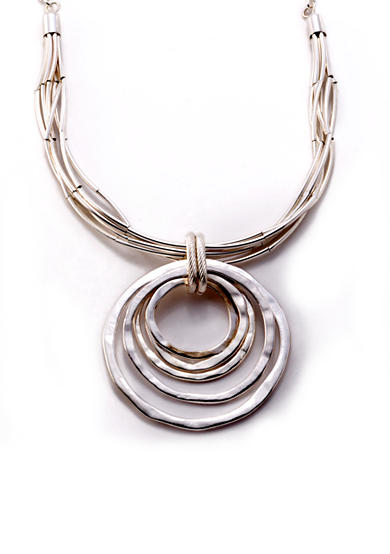 Kim Rogers® Silver-Tone Circles Pendant Necklace
