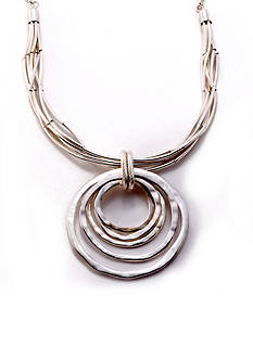 Kim Rogers Silver-Tone Circles Pendant Necklace