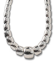 Kim Rogers Silver-Tone Hammered Square Collar Necklace