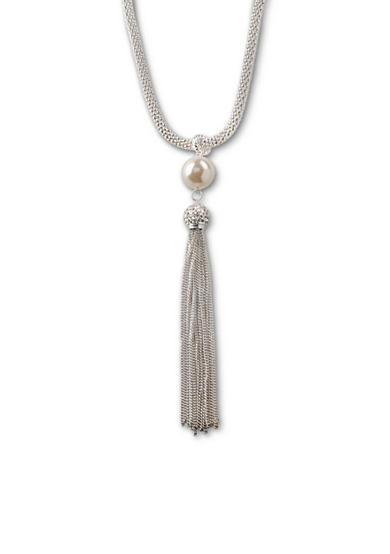 Kim Rogers® Silver-Tone Large Faux Pearl and Tassel Pendant Necklace