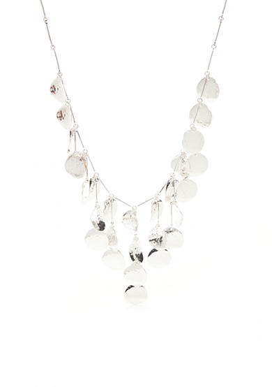 Kim Rogers® Silver-Tone Hammered Discs Statement Necklace