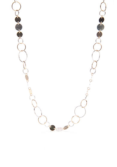 Kim Rogers® Two-Tone Open Ring Disc Necklace