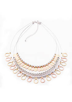 Kim Rogers® Tri-Tone Disc Layered Collar Necklace