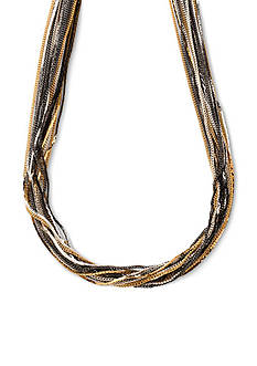 Kim Rogers Tri-Tone Multi Strand Chain Necklace