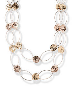 Kim Rogers Tri-Tone Two-Row Oval Link Hammered Disc Chain Necklace