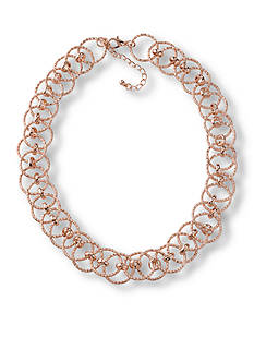 Kim Rogers Rose Gold-Tone Interlocked Chain Collar Necklace