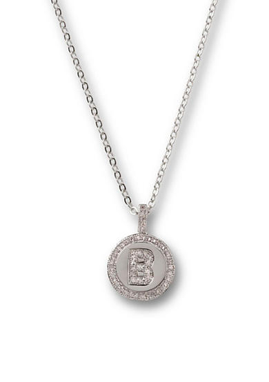 Kim Rogers® Silver-Tone Initial  B Cubic Zirconia Circle Pendant Necklace