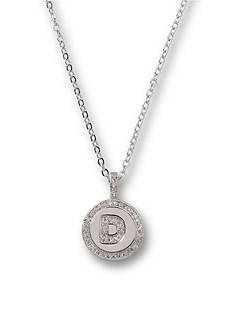 Kim Rogers Silver-Tone Initial D Cubic Zirconia Pendant Necklace