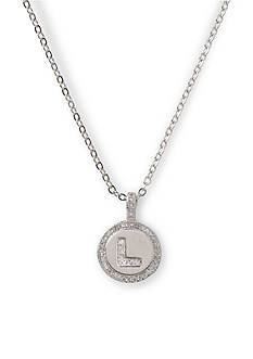 Kim Rogers Silver-Tone Initial L Cubic Zirconia Circle Pendant Necklace