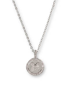 Kim Rogers Silver-Tone Initial M Cubic Zirconia Circle Pendant Necklace