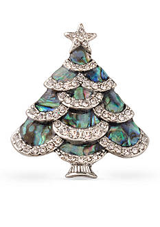 Kim Rogers Silver-Tone Faux Abalone Christmas Tree Pin