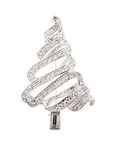 Kim Rogers Silver-Tone Crystal Ribbon Tree Pin