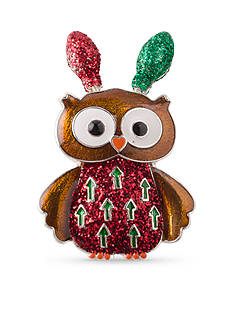 Kim Rogers Silver-Tone Christmas Owl with Lights Pin