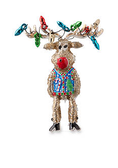 Kim Rogers Silver-Tone Wire Lights Wrapped Reindeer Pin