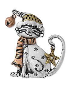 Kim Rogers Tri-Tone Cat with Santa Hat Pin