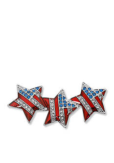 Kim Rogers® Silver-Tone USA Triple Star Boxed Pin