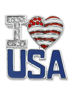 Kim Rogers® Silver-Tone I Love USA Boxed Pin