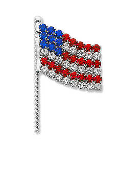 Kim Rogers® Silver-Tone Crystal Flag Boxed Pin