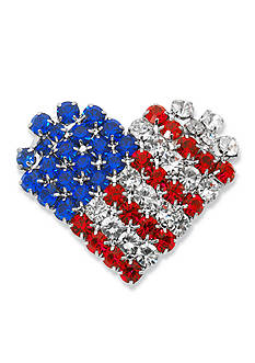 Kim Rogers® Silver-Tone Crystal Flag Heart Boxed Pin