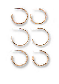 Kim Rogers Gold-Tone Textured Hoop Trio Earring Set