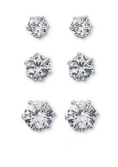 Kim Rogers Silver-Tone Sensitive Skin Trio Stud Earrings Set