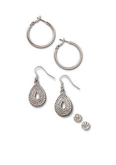 Kim Rogers® Silver-Tone Love Knot, Hoop and Drop Trio Earring Set