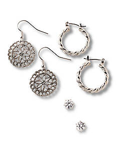 Kim Rogers® Silver-Tone Cubic Zirconia, Hoop and Filigree Drop Trio Earring Set