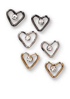 Kim Rogers Tri-Tone Sensitive Skin Crystal Heart Trio Earring Set