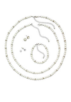 Kim Rogers Silver-Tone White Pearl Necklace and Earring Mega Boxed Set