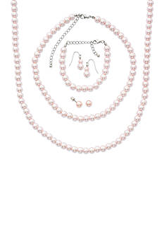Kim Rogers Silver-Tone Blush Pearl Earring and Necklace Mega Boxed Set