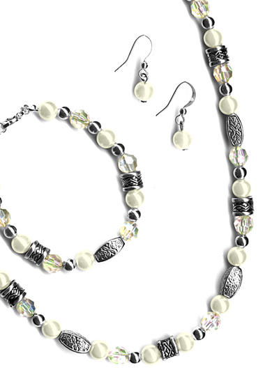 Kim Rogers® 3-Piece Set Pearl and Clear Facet Beads
