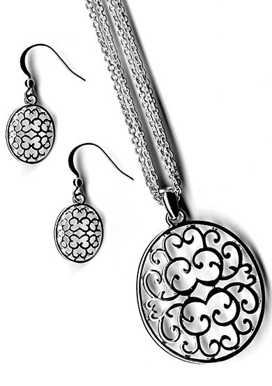 Kim Rogers® Cutout Disc Drop Neck And Earrings Set