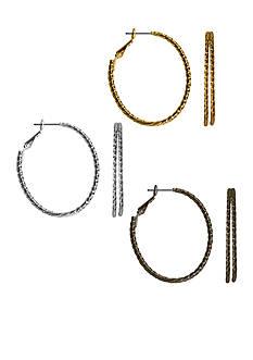 Kim Rogers® Tri-Tone Sensitive Skin Trio Hoop Earring Set