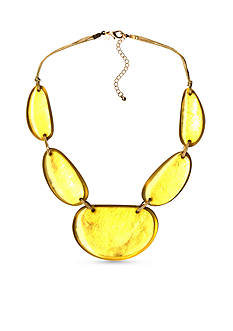 Kim Rogers Gold-tone Yellow Uneven Oval Statement Necklace