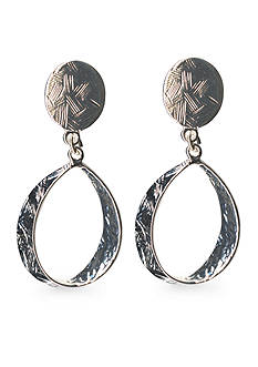 Kim Rogers Silver-Tone Sensitive Skin Oval Drop Clip Earrings