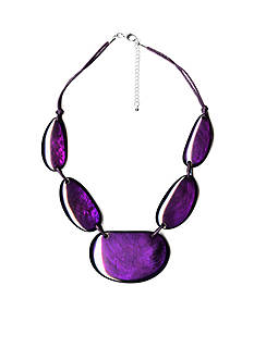 Kim Rogers Silver-Tone Purple Glam Statement Necklace