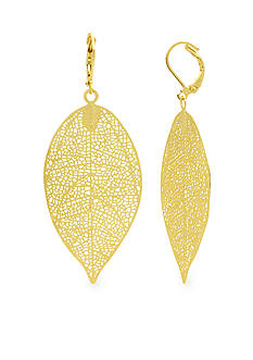 Kim Rogers® Gold-Tone Sensitive Skin Etched Leaf Drop Earrings