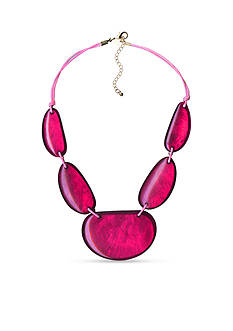 Kim Rogers Pink Uneven Oval Statement Necklace