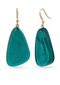 Kim Rogers Gold-Tone Teal Resin Earrings