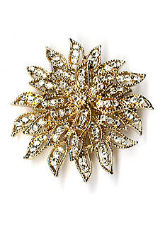 Kim Rogers Gold-Tone Crystal Flower Boxed Pin