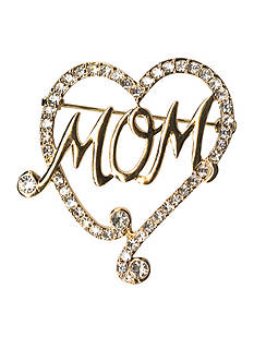 Kim Rogers® Gold-Tone Crystal Heart With 'MOM' Boxed Pin