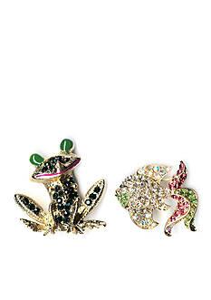 Kim Rogers Gold-Tone Frog and Fish Boxed Pin Set