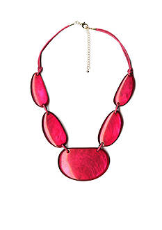 Kim Rogers Gold-Tone Hot Pink Glam Statement Necklace