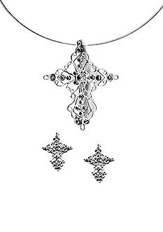 Kim Rogers Silver-Tone Filigree Cross Pendant Necklace and Earring Set